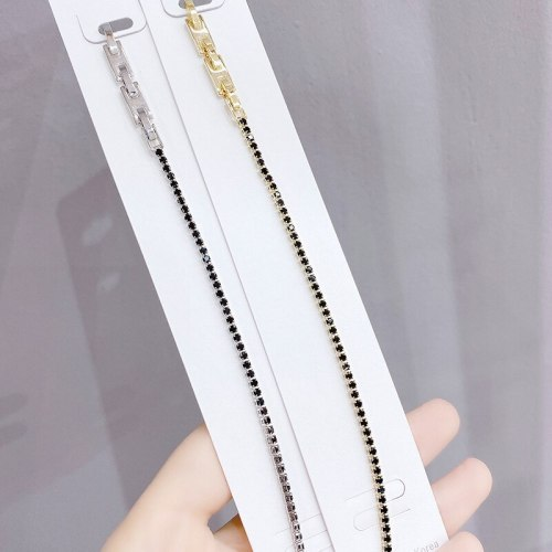 New Simple Fashion Single Row round Black Zircon 18K Real Gold Bracelet Wholesale