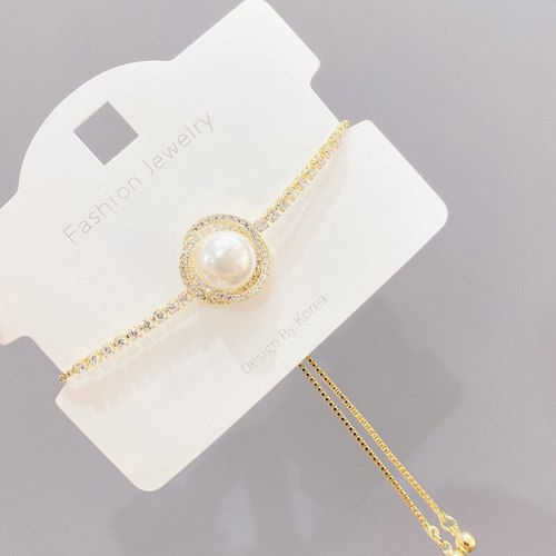 Petal Pearl Bracelet Ins Special-Interest Design Korean Simple Personalized Cold Style Adjustable Pull Hand Jewelry