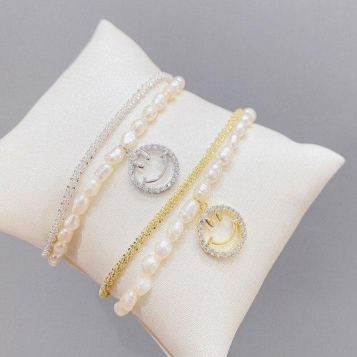 Fashion Multi-Layer Bracelet Women's Baroque Freshwater Pearl Bracelet Micro Inlaid Zircon Full Diamond Smiley Face Bracelet