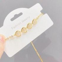 New Opal Bracelet Women's Micro Inlaid Zircon Adjustable Pull Bracelet Peach Heart Bracelet