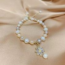 Baroque Freshwater Pearl Zircon Bracelet Bracelet Ins Niche Design Korean Internet Celebrity Handmade Beaded Bracelet