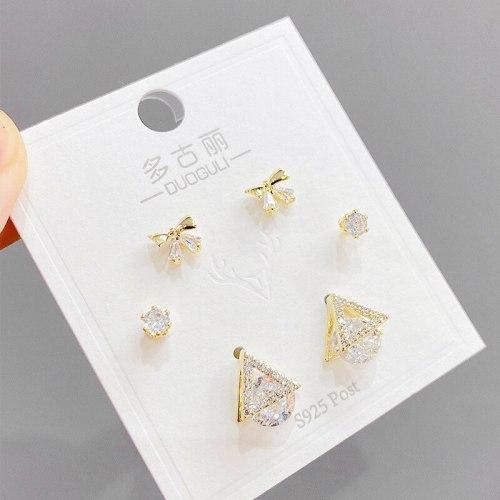 Sterling Silver Needle Micro Inlaid Zircon Short Stud Earring Female Cute Earrings Temperament Wild Simple