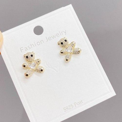 Korean S925 Silver Piercing Earrings Small Female Simple Stud Earrings Zircon Peach Heart Cute Bear Ear Studs