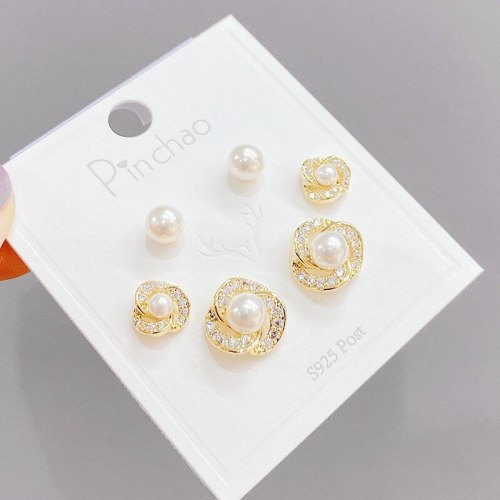Micro Inlaid Zircon Pearl Three-Piece Earrings Personality One Card Three Pairs Combination Sterling Silver Needle Earrings