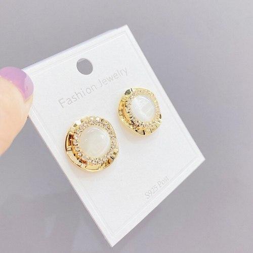 Round Opal Pearl Zircon Korean Style New Studs 925 Silver Needle Fashionable Earrings
