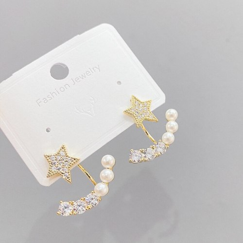 S925 Silver Pearl Stud Earrings Micro Inlaid Zircon Pentagram Earrings Female Earrings