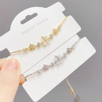 New Opal Pull Bracelet Female Micro Inlaid Zircon Adjustable Bracelet Korean Personalized Bracelet