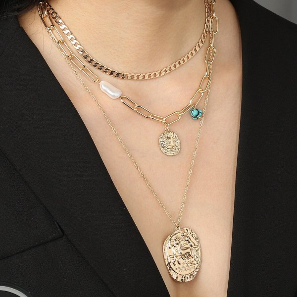 European and American Personality Fashion Necklace Exaggerated Street Shot Hip Hop round Pendant Multi-Layer Necklace for Women