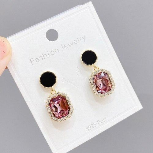 European and American Fashion Purple Zircon Earrings Sterling Silver Needle Micro-Inlaid Full Diamond Earrings Earrings