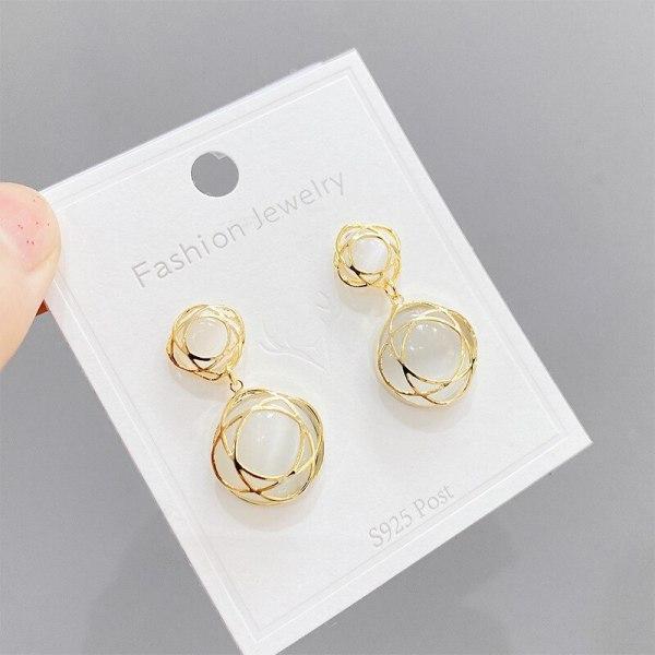 Korean Cat's Eye Earrings Simple Fashion All-Match Sterling Silver Needle Short Earrings Earrings for Women