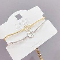 Shell Bracelet Korean Style Personalized Copper Coin Women's Bracelet Simple Fresh Student Bracelet Adjustable Pull Bracelet