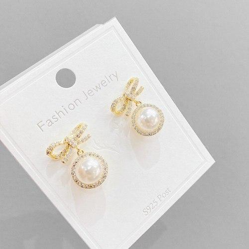 Korean Style New Sterling Silver Needle Bow Pearl Earrings Internet Influencer Stud Earrings Fashion Minimalism Earrings