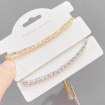 Korean Style Fashion Copper Micro Inlay Single Row Zircon Bracelet Women's Adjustable Size Pull Bracelet