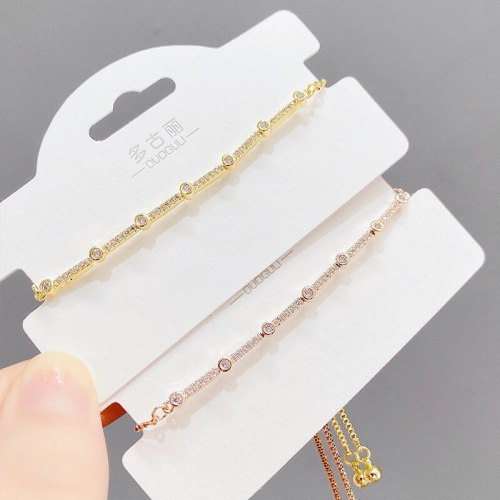 Micro-Inlaid Full Diamond Pull Bracelet Women's Gold-Plated Bracelet Korean Fashion Bracelet Ornament Fashion