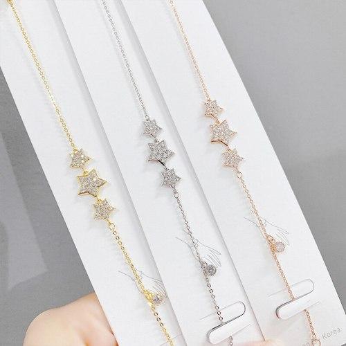 Micro Inlaid Zircon Five-Pointed Star Bracelet Female Korean Style Sweet Temperament Student Special-Interest Design Bracelet