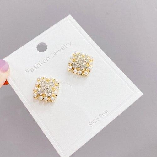 New Pearl Stud Earrings for Women Geometric Square Eardrops Sterling Silver Needle Micro Inlaid Zircon Earrings