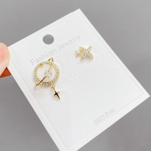 Korean Design Planet Asymmetric Sterling Silver Needle Earrings Exquisite Refined Grace Internet Influencer Stud Earrings Women