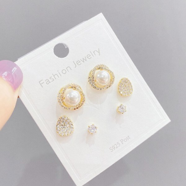Micro Inlaid Zircon Pearl Three-Piece Earrings Sterling Silver Needle One Card Three Pairs Combination Earrings