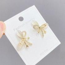 Korean Style Cymophanitel Micro Inlaid Zircon Bowknot Earrings Sterling Silver Needle Sweet Cute Earrings Women