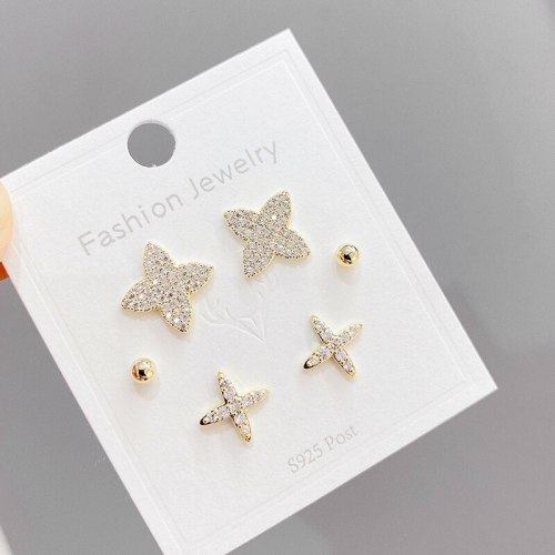 Sterling Silver Needle Three Pairs Storage Ear Studs Fine Zircon-Embedded Earrings Gold Plated Eight-Pointed Stars Earrings