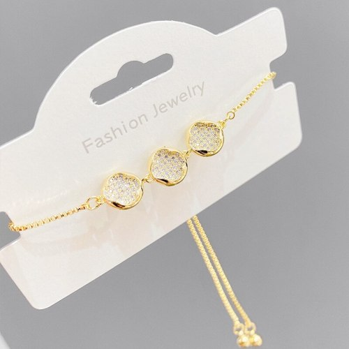 Women's Gold-Plated Bracelet European and American Fashion Micro Inlay Full Diamond Pull Bracelet Simple and Adjustable Bracelet