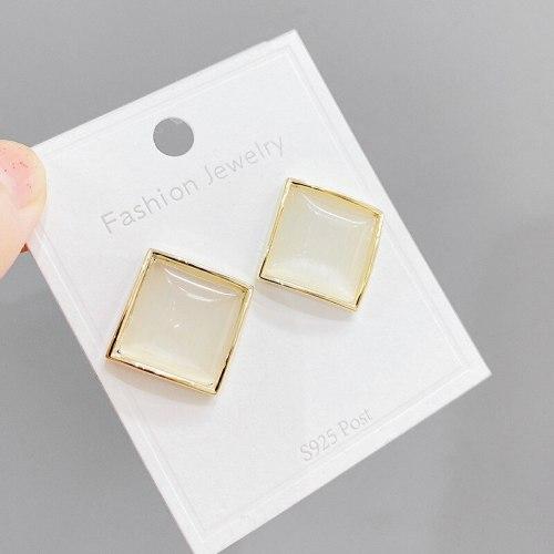Sterling Silver Needle Beautiful Square Earrings Minimalist Design Earrings Korean Opal Shiny Diamond Ear Studs