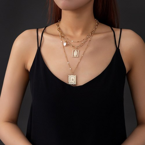 European and American Fashion Trend Multi-Layer Twin Plaid Chain Necklace Geometric Portrait Necklace