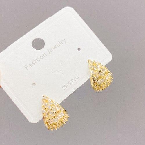 Sterling Silver Needle Micro Zircon-Encrusted Stud Earrings Niche Design Eardrops Geometric C- Shaped Earrings Earrings