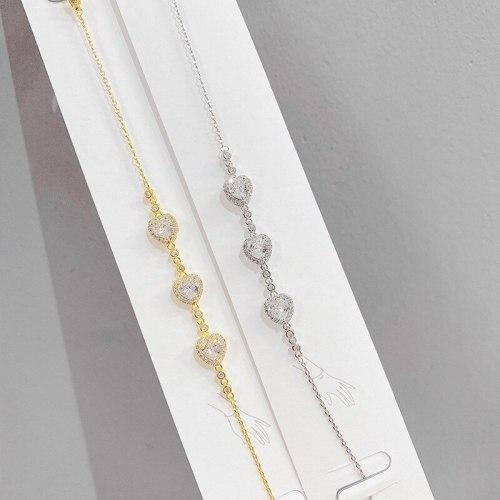 Fashion Peach Heart Zircon Bracelet Women's Electroplated Real Gold Korean Bracelet Super Fairy Bracelet Ornament Wholesale