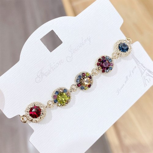 New Colorful Zircon Bracelet Colorful Rose Gold Bracelet Boutique Exaggerated Bracelet