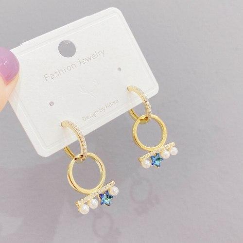 Pearl Five-Pointed Star Ear Clip Women's Gold Plated European and American Trendy Earrings round Earrings Earrings