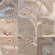 Gold-Plated Korean-Style Fashion Pull Bracelet Women's Shell Eight Awn Star Bracelet Micro Inlaid Zircon Bracelet