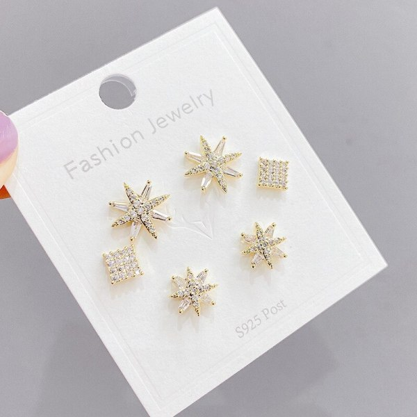 Sterling Silver Needle Micro Inlaid Zircon Eight Awn Star Three-Piece Earrings One Card Three Pairs Combination Earrings