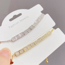 European and American Fashion Square Pull Bracelet Female Micro Inlaid Zircon Personalized Bracelet Adjustable Hand Jewelry