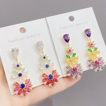 Heavy Industry Exquisite Sterling Silver Needle Ear Studs Colorful Inlaid Zircon High-Grade Earrings Fairy New Earrings Female