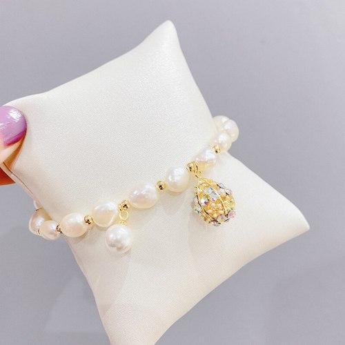 Irregular Pearl Bracelet Zircon Hollow Ball Baroque Student French Style High Sense Bracelet Bracelet