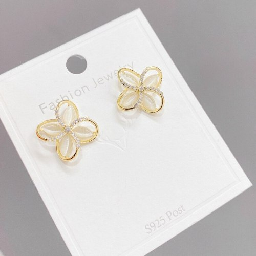 Sterling Silver Needle Cute Opal Flower Rhinestone-Embedded Stud Earrings Female Korean Temperament Personality Petal Earrings