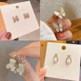 Sterling Silver Needle Beautiful Pearl Bow Stud Earrings Temperament Geometric Earrings Personalized Earrings Women
