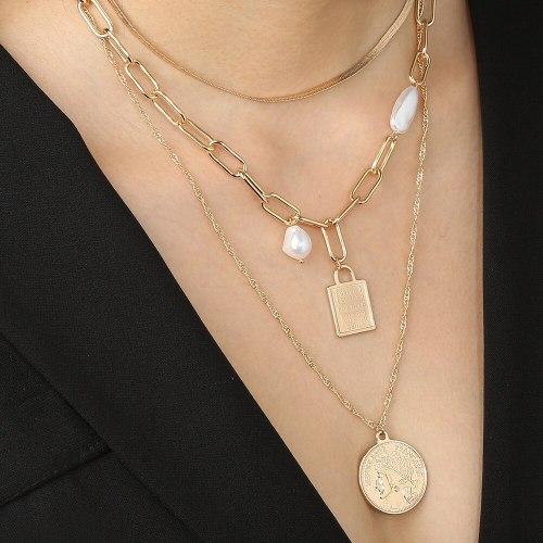 European and American Fashion Street Shot Metal Necklace Vintage Chain Roman Portrait Fashion Peach Heart Pendant Necklace