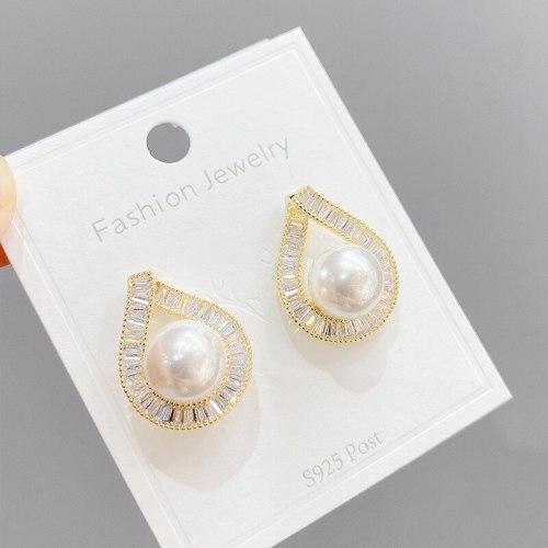 Micro Inlaid Zircon Pearl Stud Earrings for Women Sterling Silver Needle Eardrops European and American Style Fashion Earrings