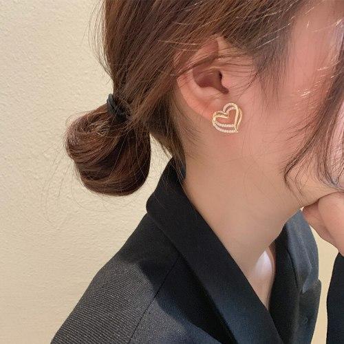 Sterling Silver Needle Earrings Korean Exquisite Double Love Net Red Earrings Hollow Heart Earrings Earrings