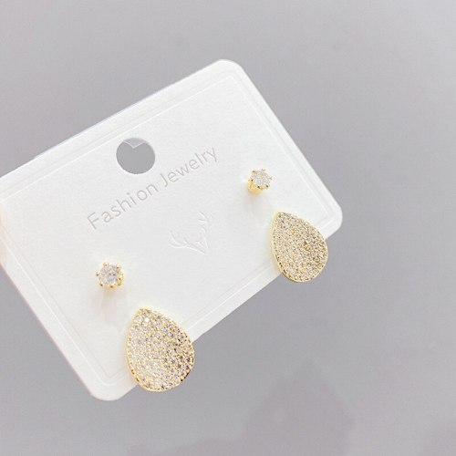 Sterling Silver Needle Micro Zircon-Encrusted Stud Earrings Full Diamond Geometric Earrings Fashion Minimalism Earrings