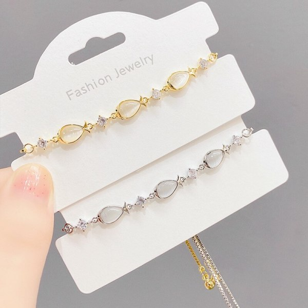 Electroplated Real Gold Opal Pull Bracelet Female Personality Fashion Goldfish Adjustable Bracelet Korean Style Bracelet