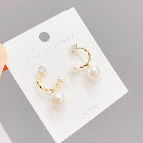 925 Silver Needle C- Type Zircon Pearl Stud Earrings Women's All-Match Small and Simple Internet Influencer Earrings