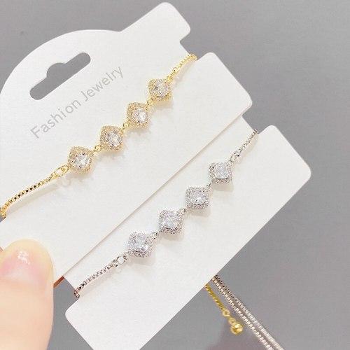 Hot Sale Rhombus Zircon Pull Bracelet Female European and American Ins Style Niche Design Bracelet