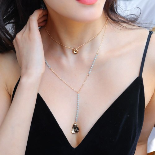 European and American Simple Blue Crystal Chain Multi-Layer Necklace Metal Pea Shaped Water Drop Pendant Necklace