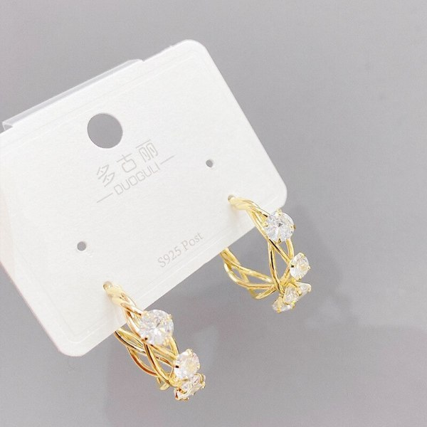 Sterling Silver Needle Korean Micro Zircon-Encrusted Stud Earrings All-Match Simple Pearl Earrings Online Influencer Earrings