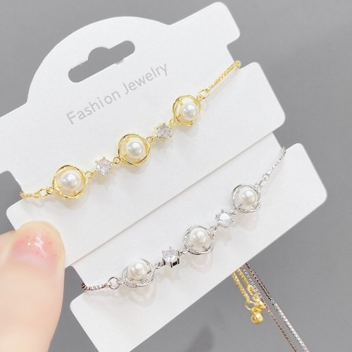 New Pearl Pull Bracelet Women's Korean-Style Stylish Adjustable Bracelet Gold Plated Hand Jewelry