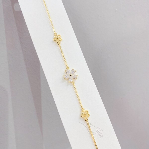 Micro Inlaid Zircon Petal Bracelet Female Online Influencer Bracelet Student Korean Simple Design Personalized Bracelet