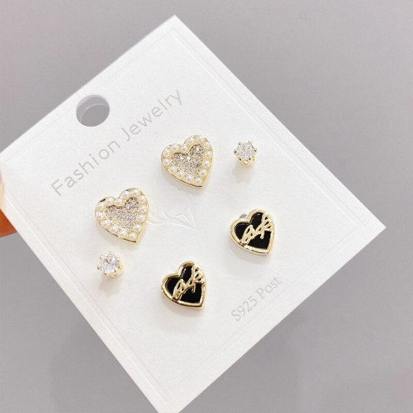 Micro Inlaid Zircon Peach Heart Three-Piece Earrings Sterling Silver Needle One Card Three Pairs Combination Earrings